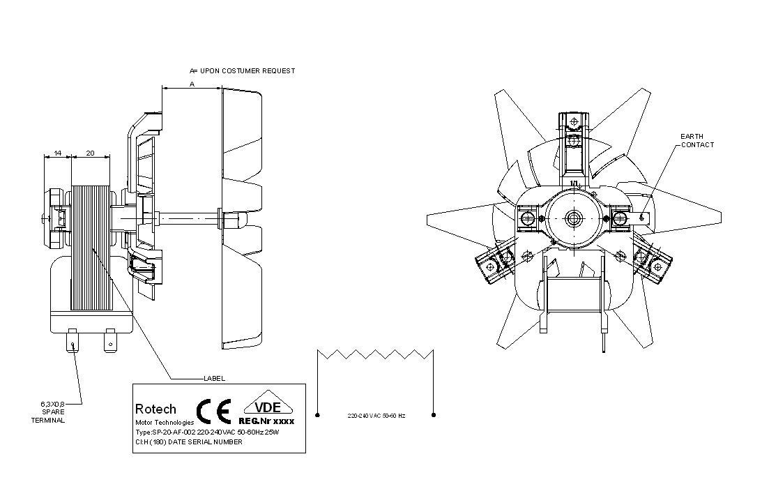 Oven Fan Motor Sp 20 Af 002