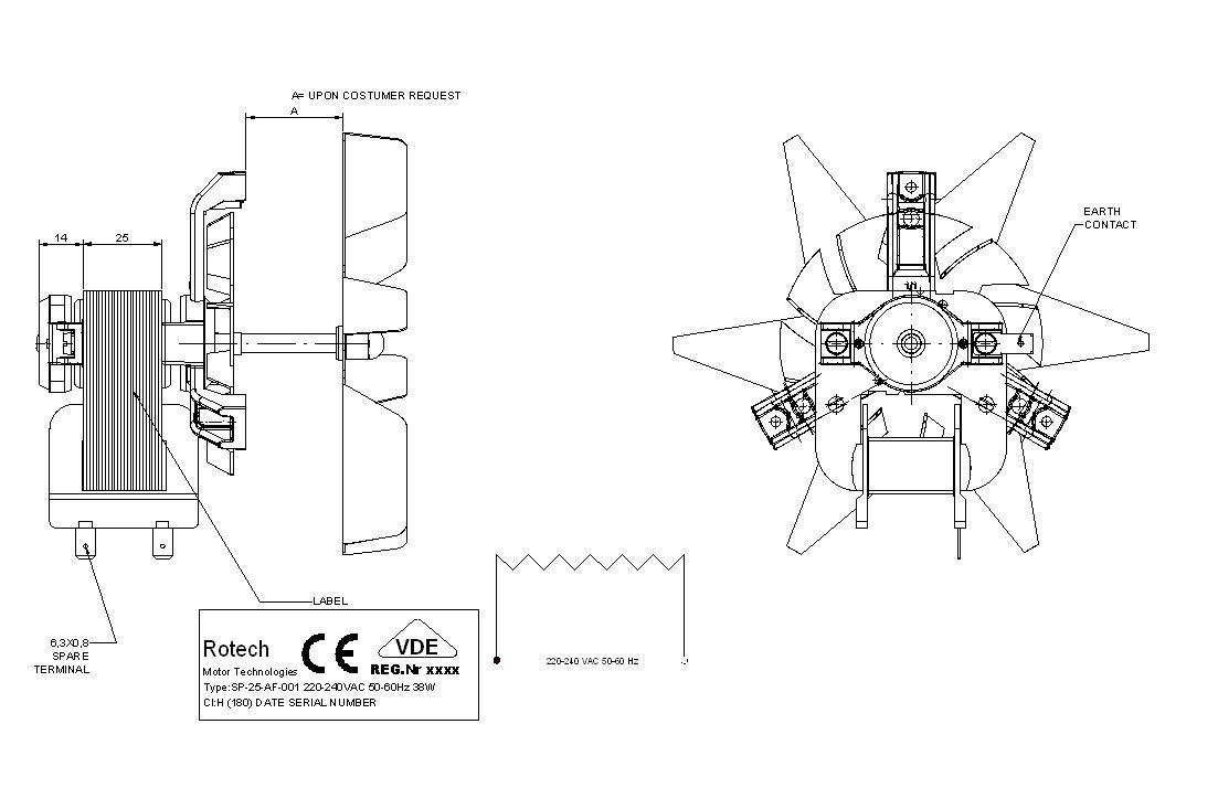 Oven Fan Motor Sp 25 Af 001